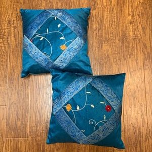 Other - Silk Throw pillows from India set of 2 teal